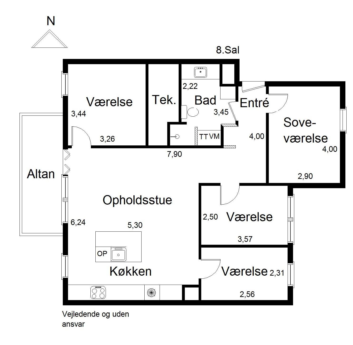 Plantegning for Robert Jacobsens Vej 87, 8., 2300 København S