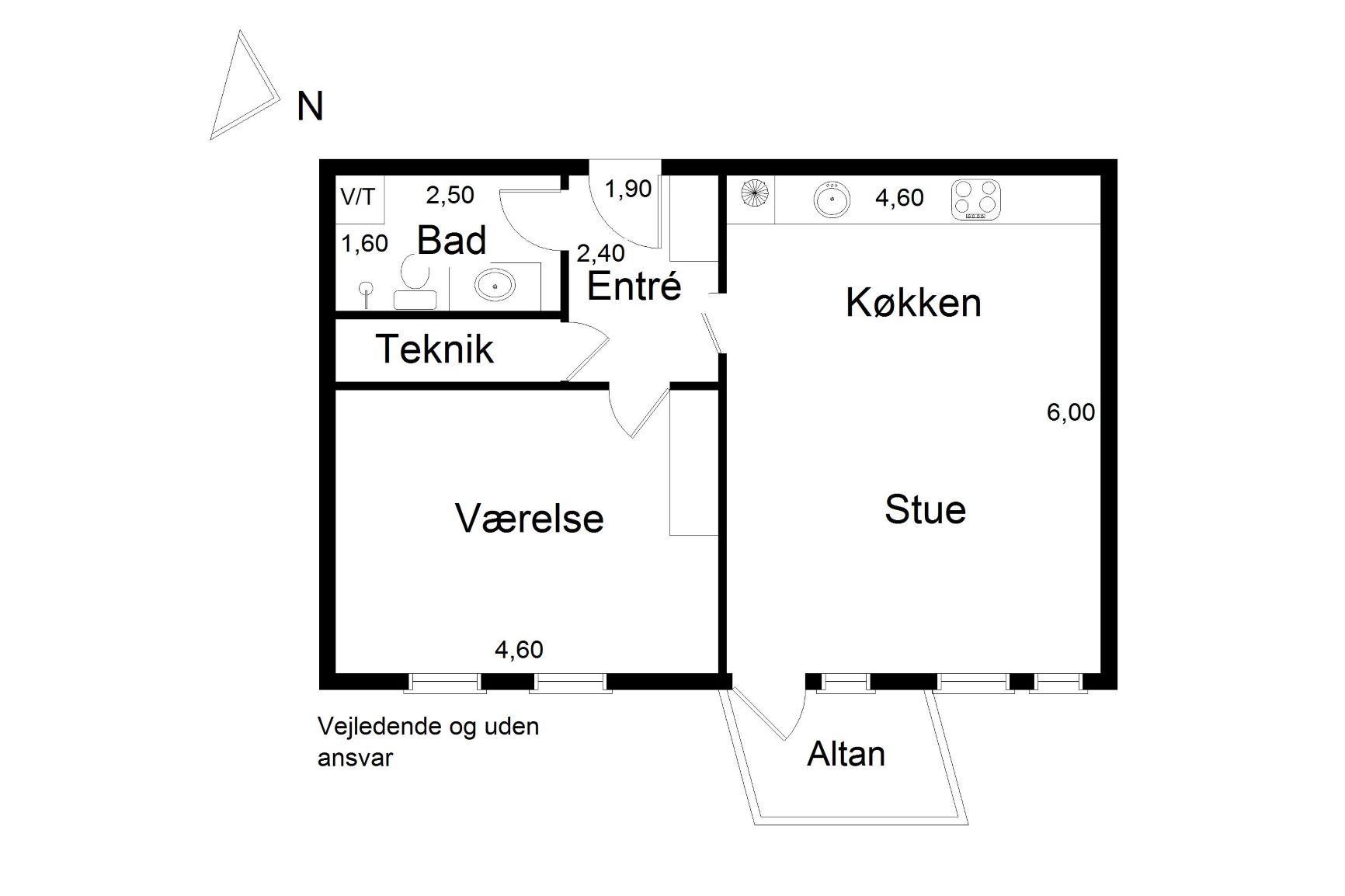 Plantegning for Mariane Thomsens Gade 36, 1. lejl. 2., 8000 Aarhus C