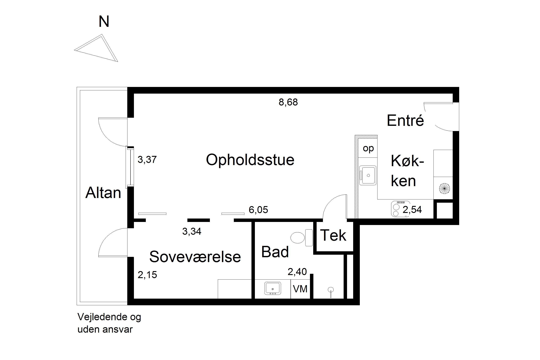 Plantegning for Østbrovej 2 D, 4. Dør3, 2600 Glostrup