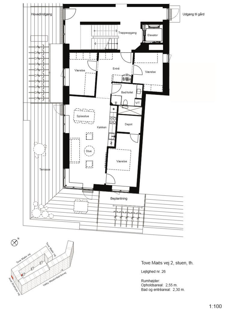 Plantegning for Tove Maës Vej 2, st. th., 2500 Valby
