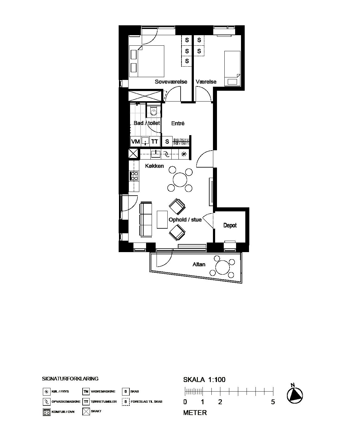 Plantegning for C.F. Møllers Allé 80, 5. th., 2300 København S