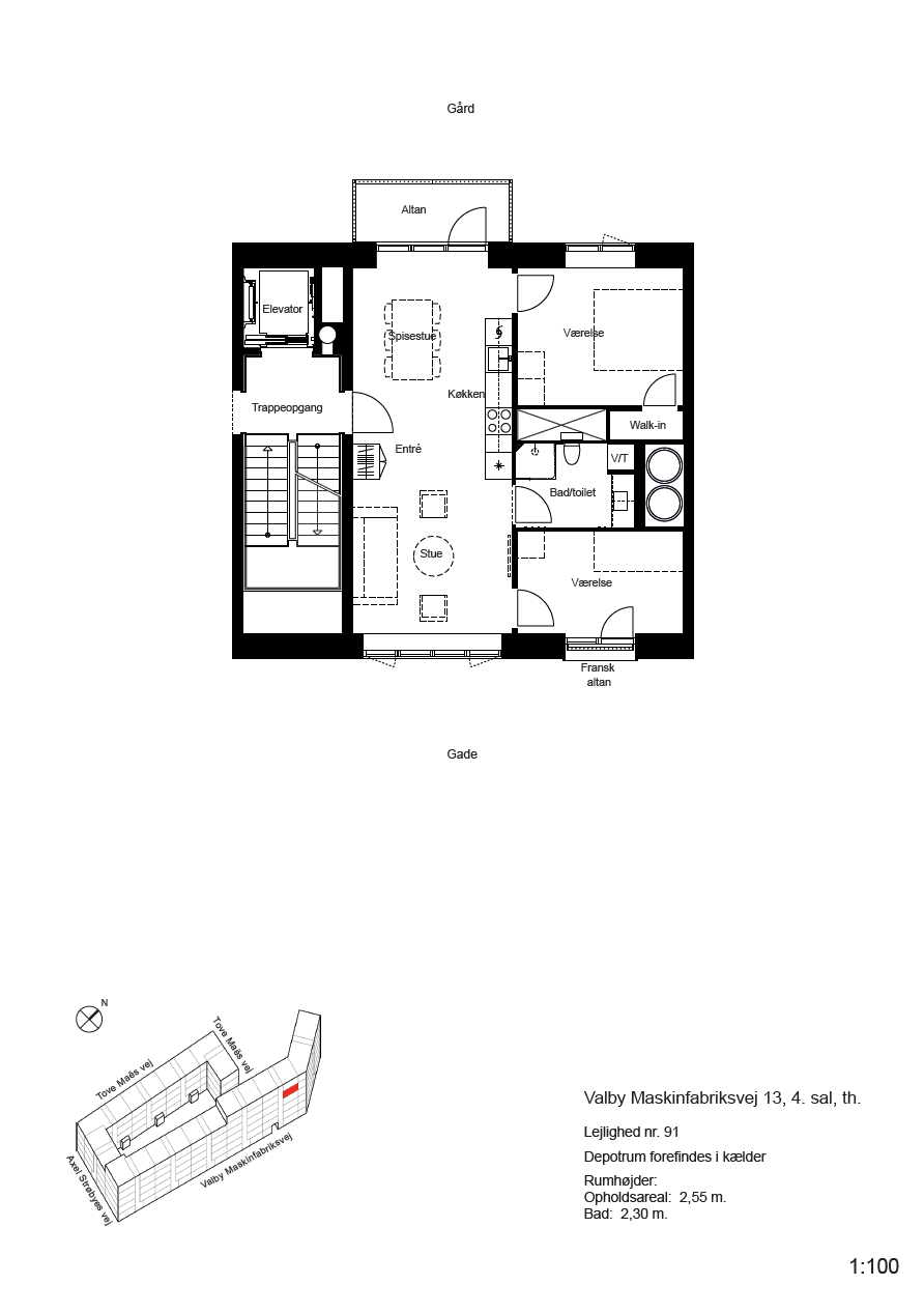 Plantegning for Valby Maskinfabriksvej 13, 4. th., 2500 Valby