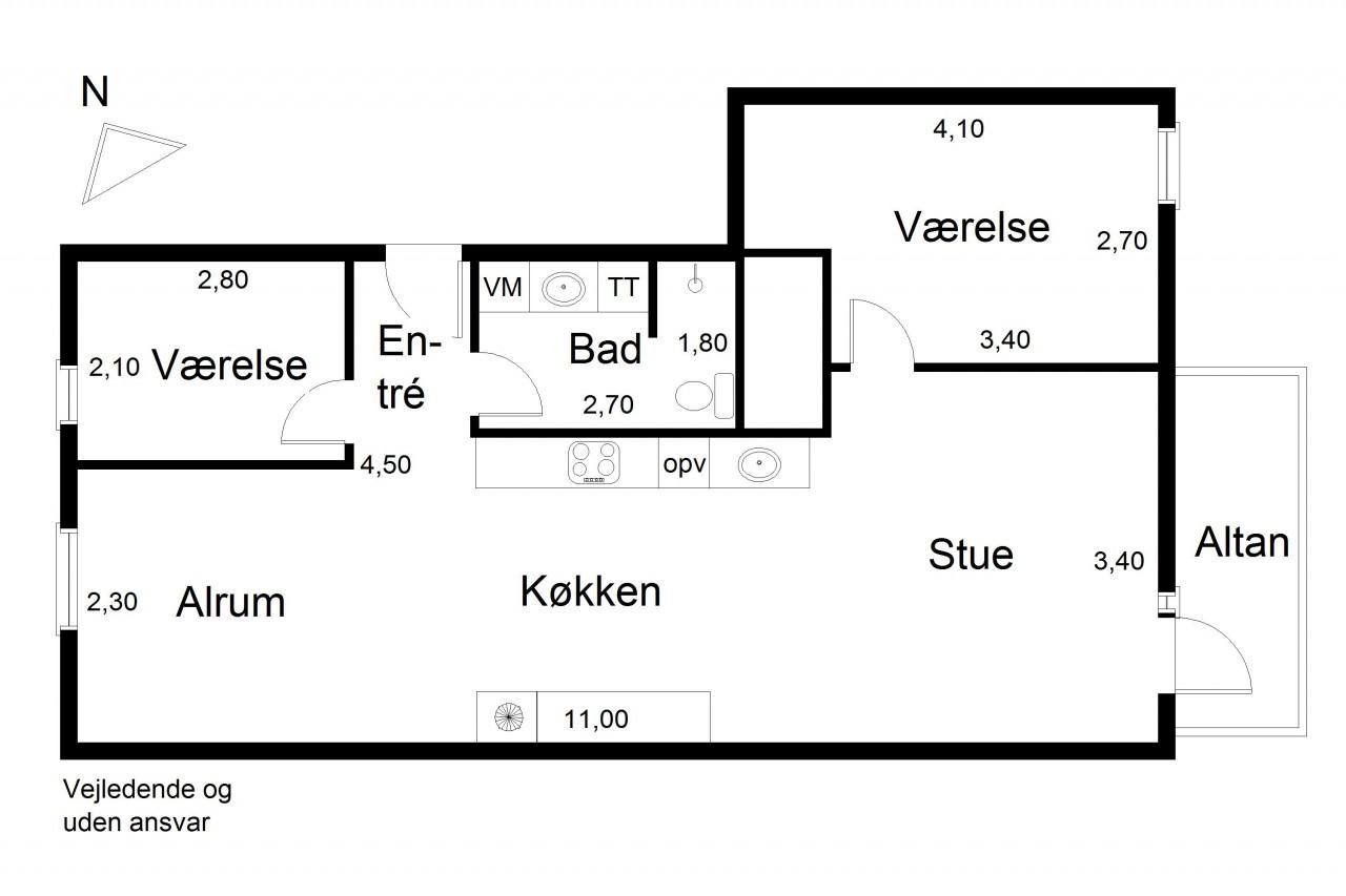 Plantegning for Clara Pontoppidans Vej 22, 5. tv., 2500 Valby