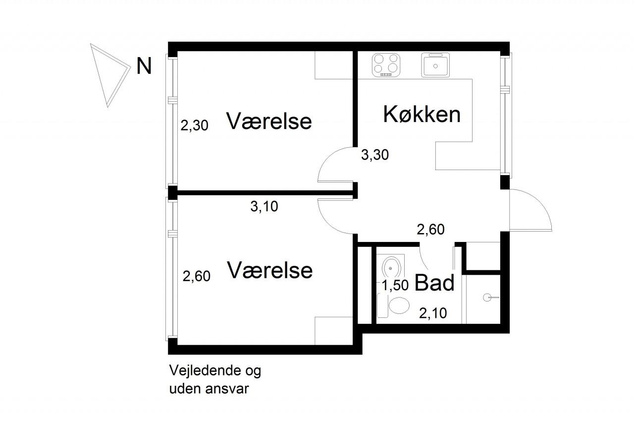 Plantegning for Preben Kaas' Vænge 3, 3. 309., 2000 Frederiksberg