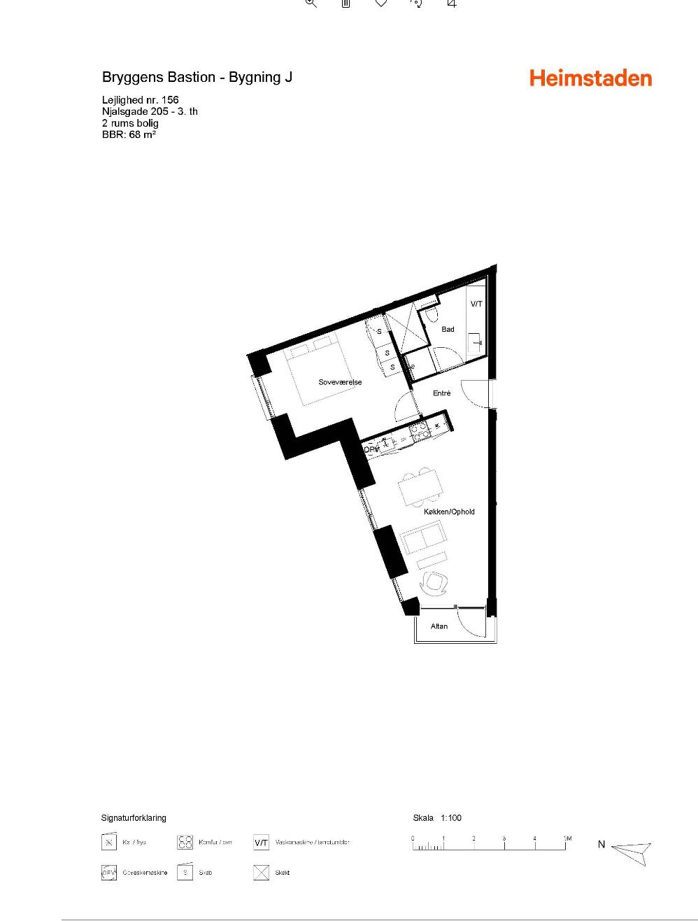 Plantegning for Njalsgade 205, 3. th., 2300 København S